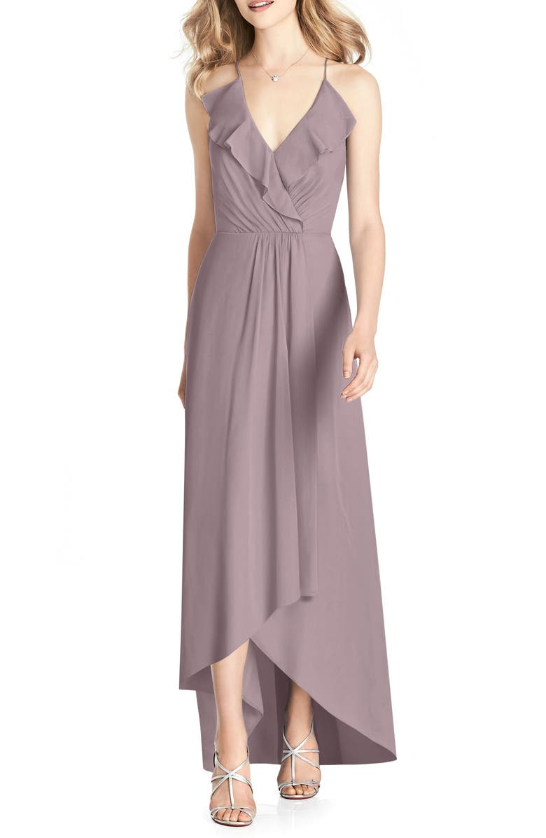 JENNY PACKHAM Ruffle High/Low Chiffon Gown, Main, color, DUSTY ROSE