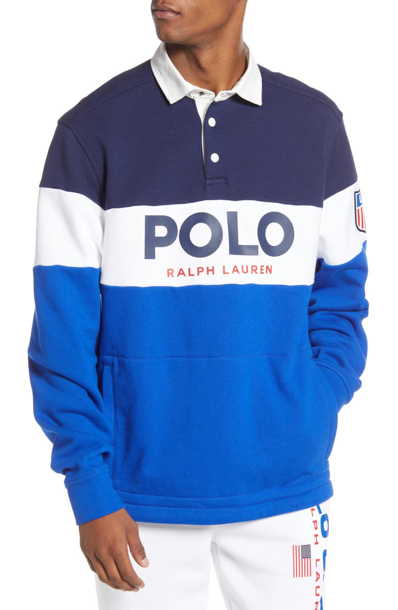 POLO RALPH LAUREN Colorblock Rugby Polo, Main, color, 400