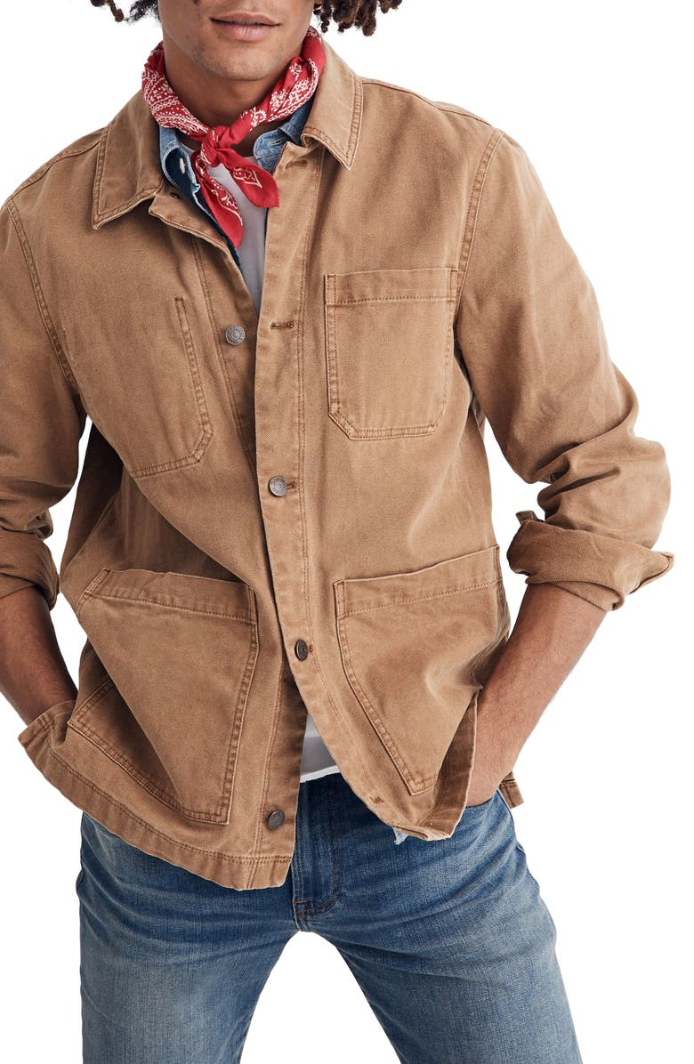 MADEWELL Canvas Chore Jacket, Main, color, CASTLE BROWN