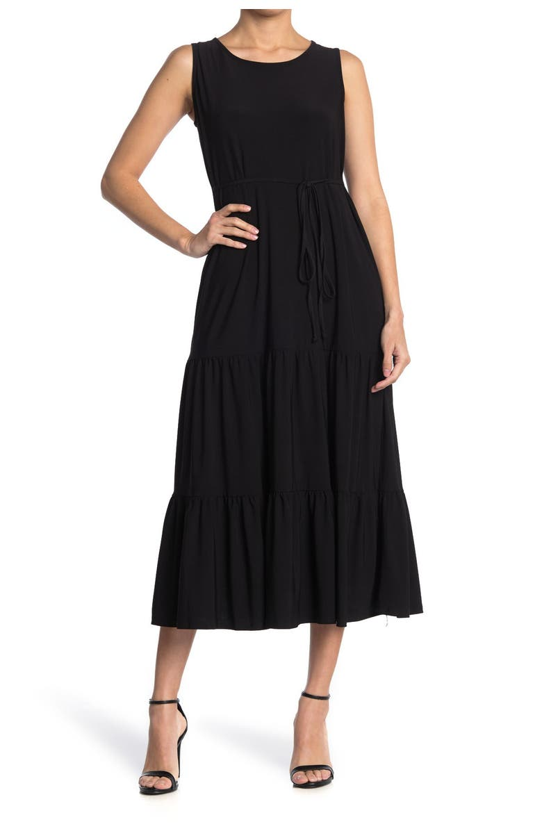 TASH AND SOPHIE Sleeveless Tiered Midi Dress, Main, color, BLK