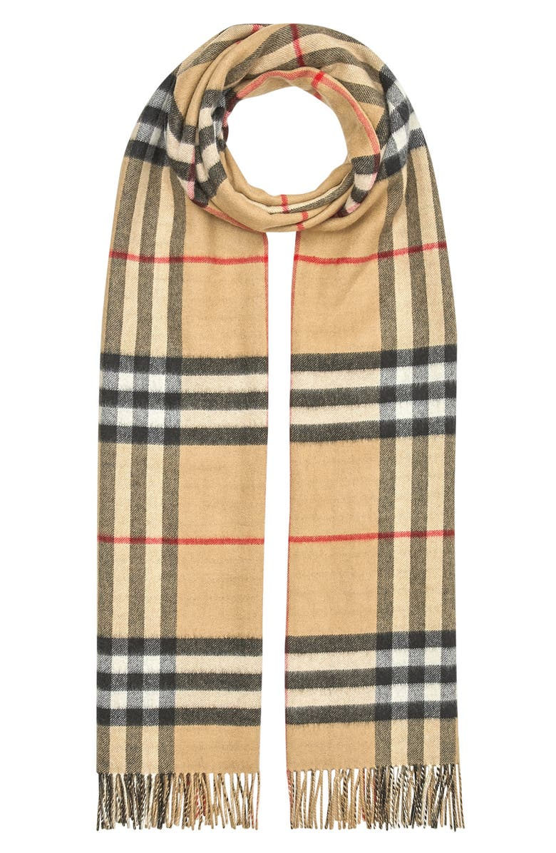 BURBERRY Giant Check Oversize Reversible Cashmere Scarf, Main, color, ARCHIVE BEIGE