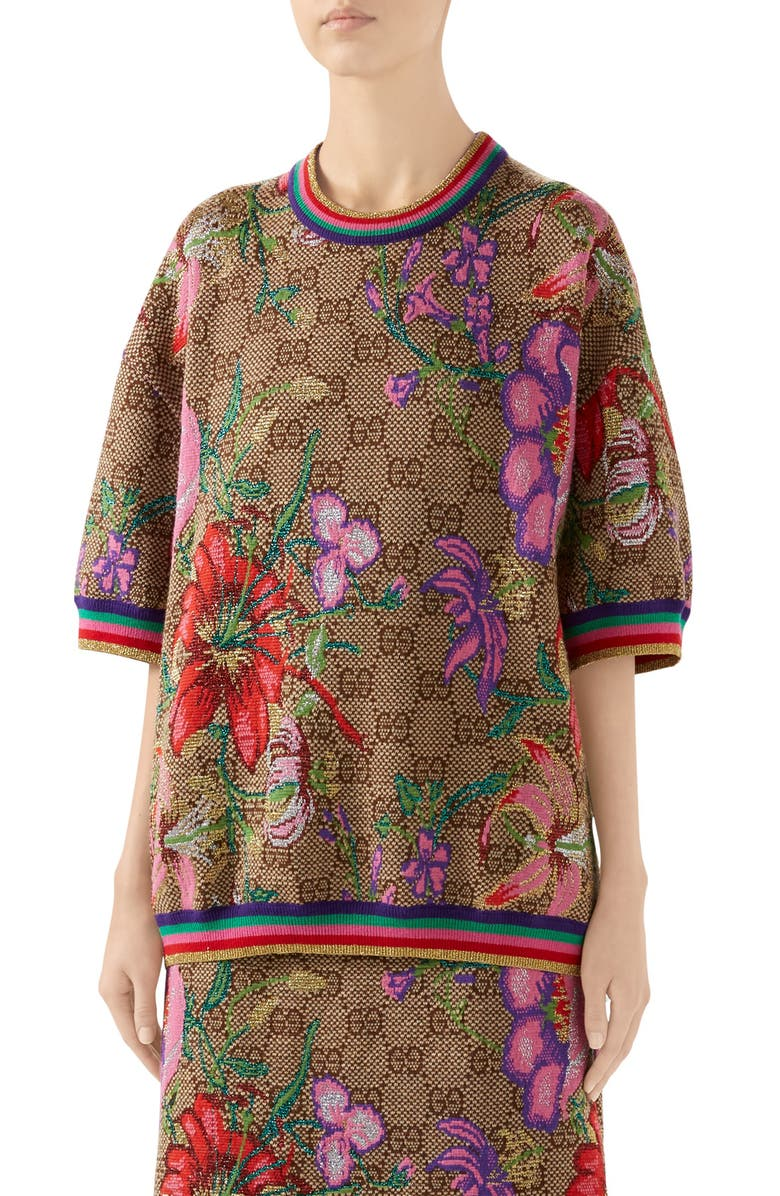 GUCCI Floral GG Jacquard Wool Blend Sweater, Main, color, 202