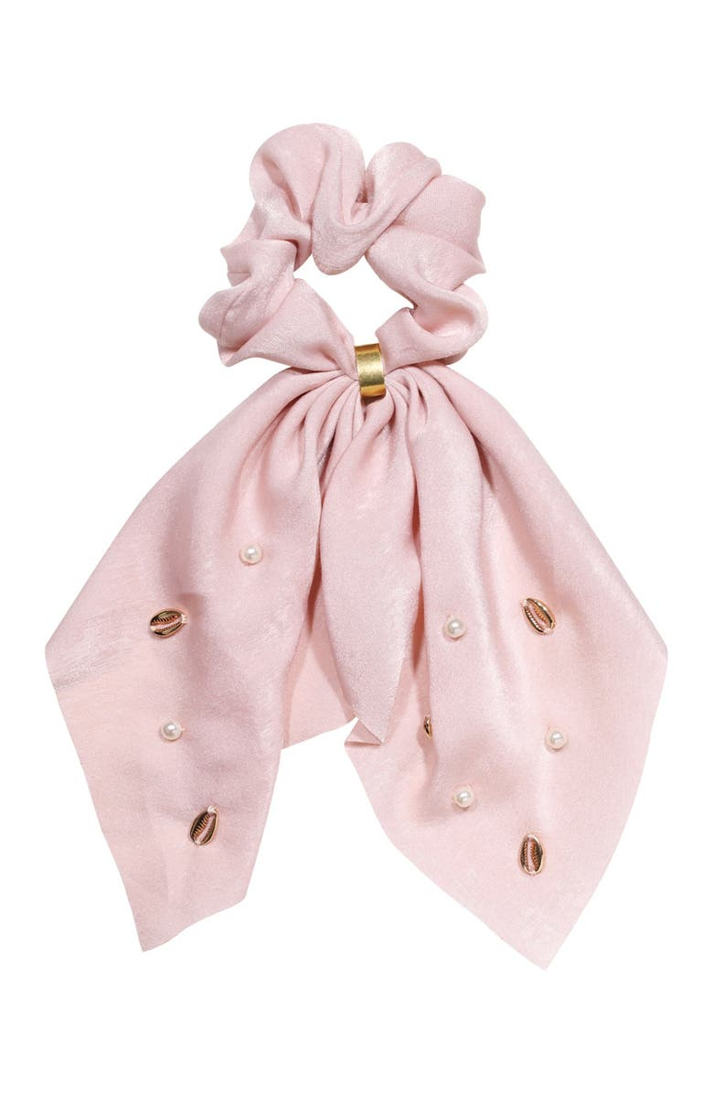 BERRY Bow Shell Scarf Scrunchie, Main, color, BLUSH