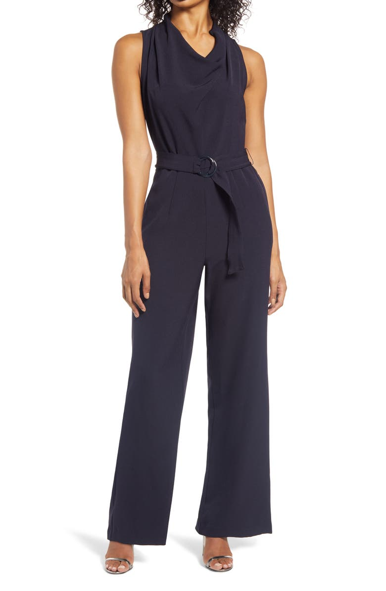 DONNA RICCO Cowl Neck Jumpsuit with Belt, Main, color, NAVY