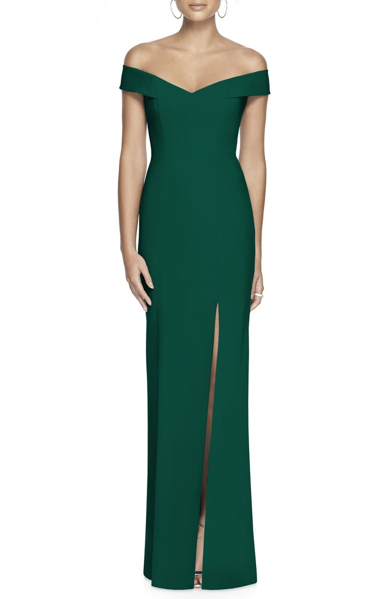 DESSY COLLECTION Off the Shoulder Crossback Gown, Main, color, HUNTER