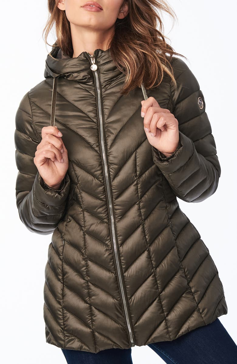 BERNARDO Ecoplume<sup>™</sup> Hooded Packable Puffer Jacket, Main, color, DRIED BASIL