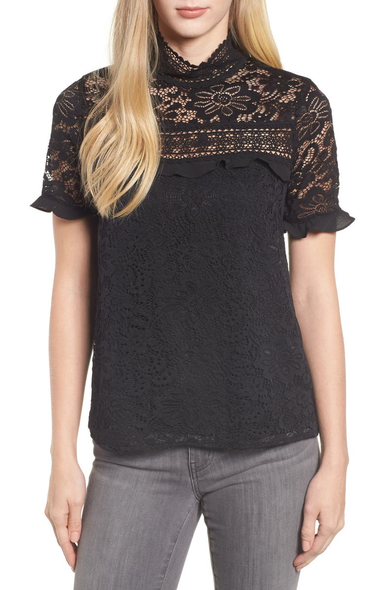 GIBSONLOOK Gibson x Glam Squad Sheaffer Lace Top, Main, color, 001
