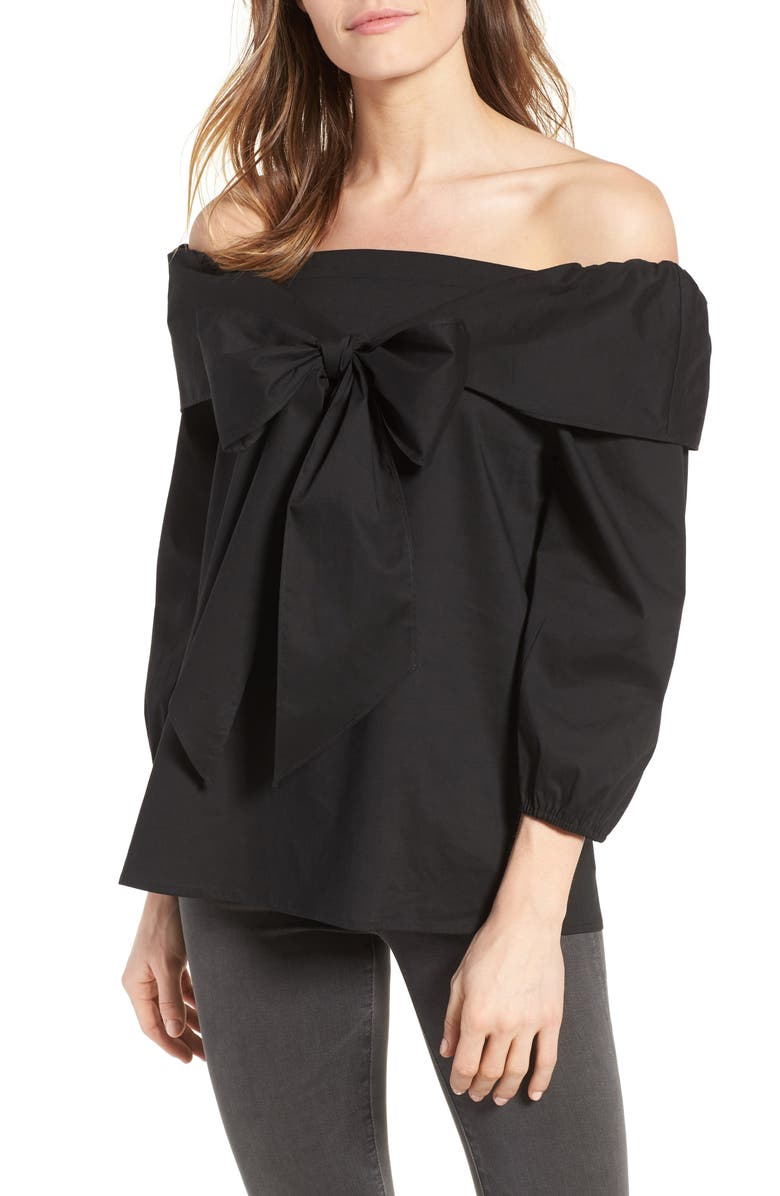 PLEIONE Bow Front Off the Shoulder Top, Main, color, 001