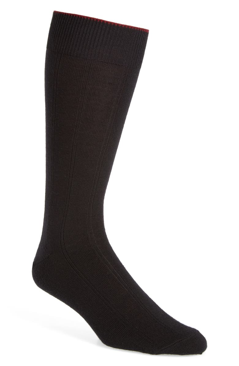 NORDSTROM MEN'S SHOP Nordstrom Rib Wool Blend Dress Socks, Main, color, BLACK
