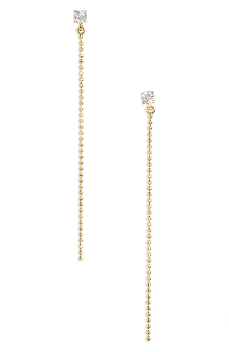 NORDSTROM Ball Chain Linear Earrings, Main, color, CLEAR- GOLD