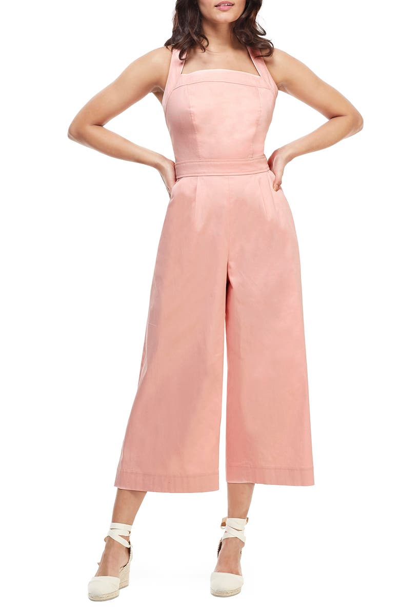 GAL MEETS GLAM COLLECTION Stephanie Cross Strap Cotton Jumpsuit, Main, color, CORAL