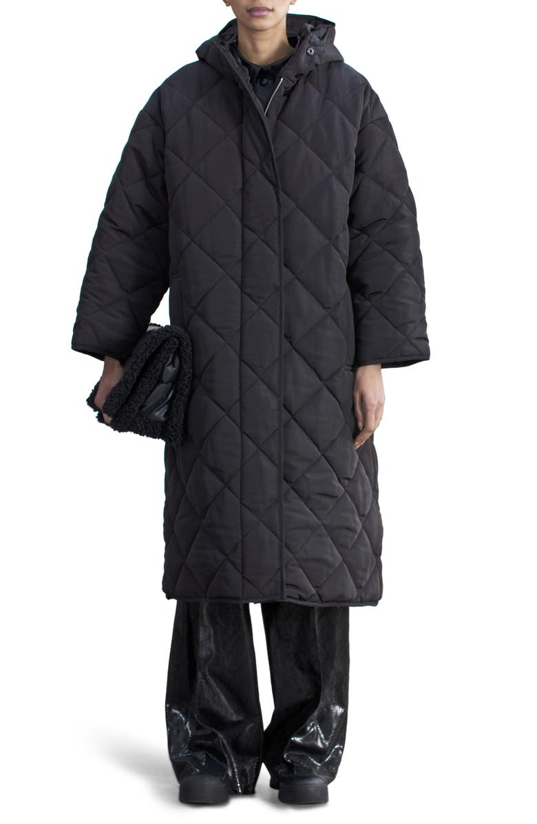 STAND STUDIO Sue Hooded Quilted Puffer Coat, Main, color, 001