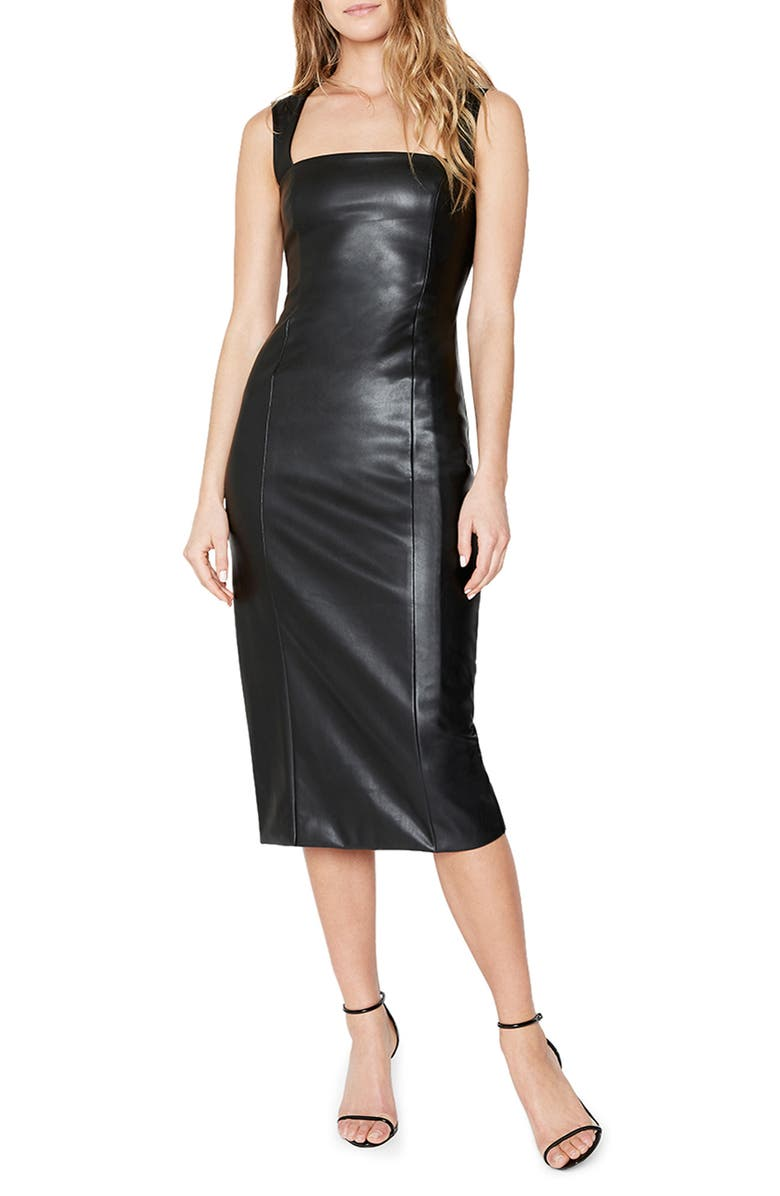 BARDOT Faux Leather Jolie Midi Sheath Dress, Main, color, 001