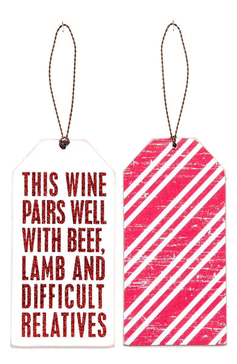PRIMITIVES BY KATHY 'Difficult Relatives' Bottle Gift Tag, Main, color, White
