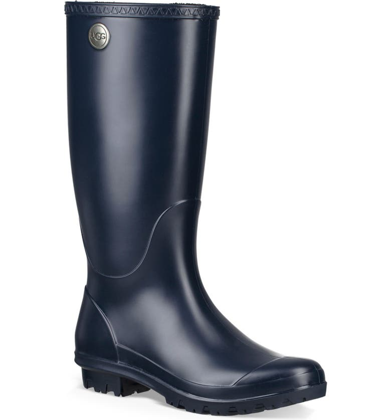 UGG<SUP>®</SUP> Shelby Matte Waterproof Rain Boot, Main, color, NAVY RUBBER