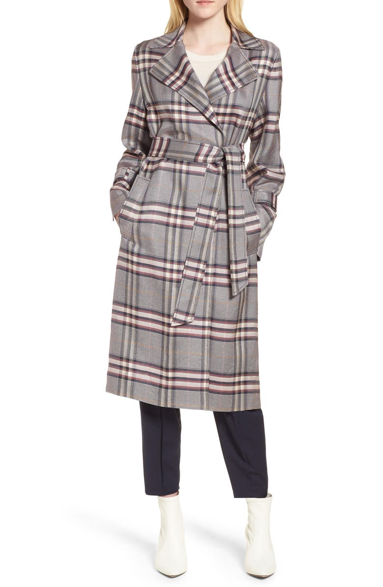 LEWIT Bold Plaid Trench Coat, Main, color, NAVY NIGHT HARPER PLAID