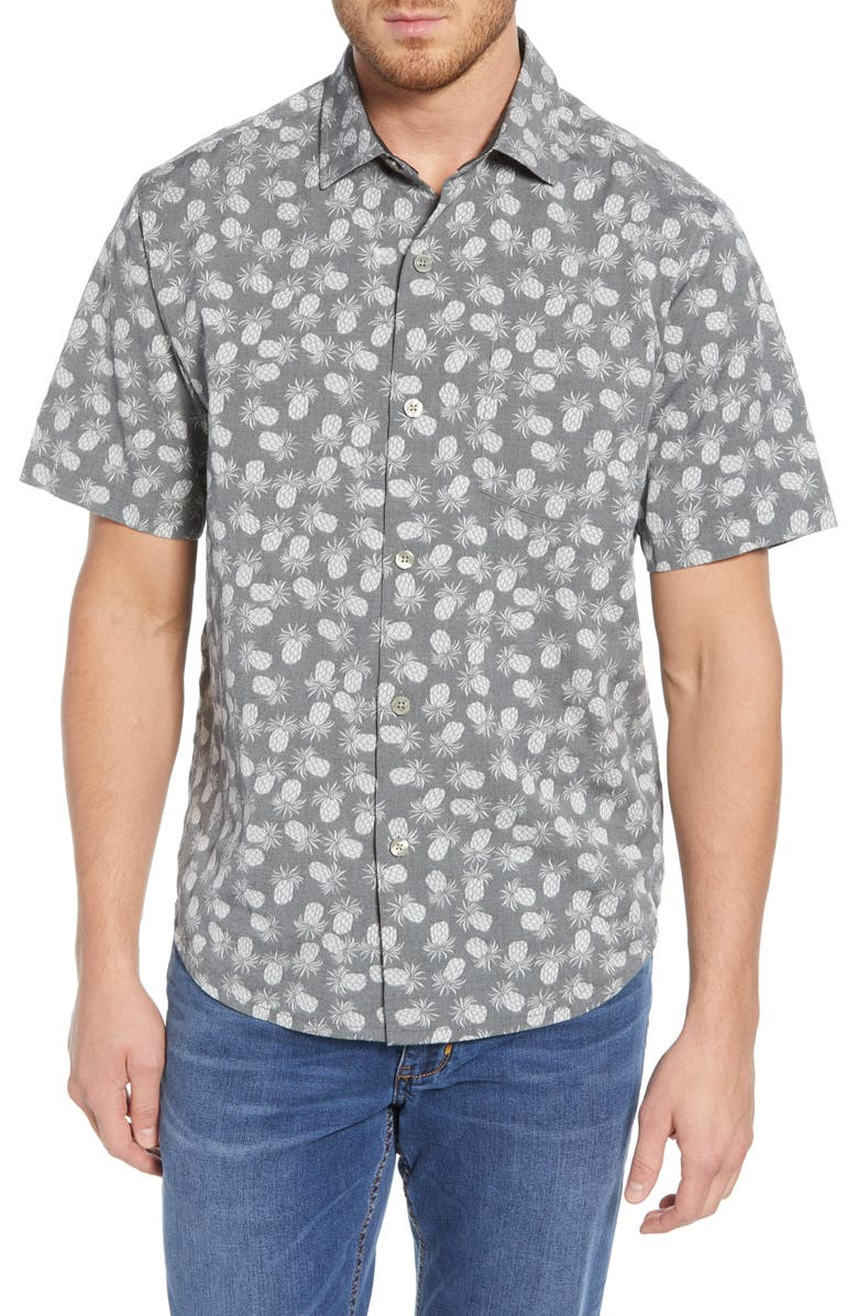 TOMMY BAHAMA Positano Pineapples Button Down Shirt, Main, color, GRAPHITE