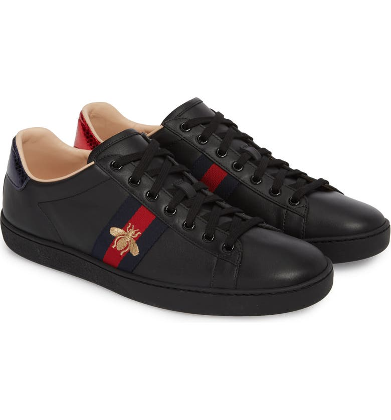 GUCCI New Ace Sneaker, Main, color, BLACK LEATHER
