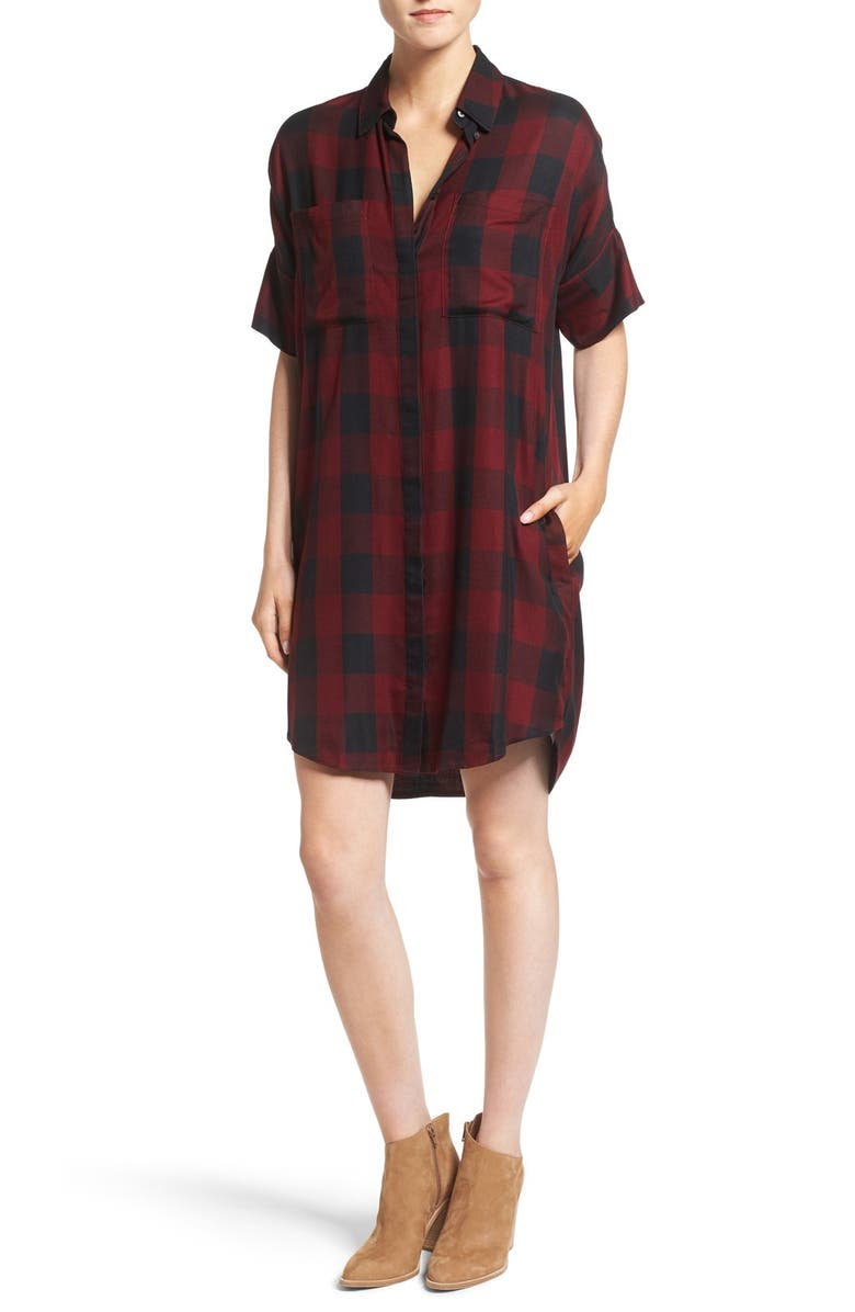 MADEWELL Courier Plaid Shirtdress, Main, color, RICH BURGUNDY