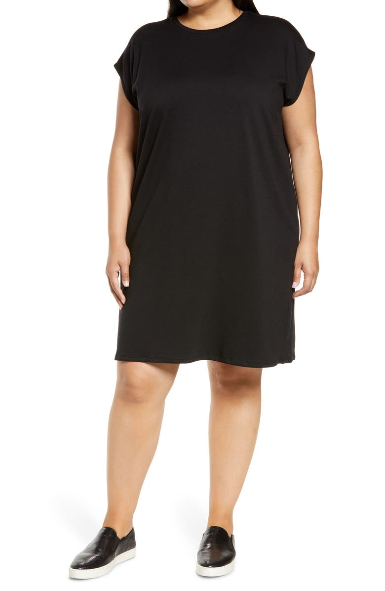 EILEEN FISHER Crewneck Boxy Dress, Main, color, BLACK
