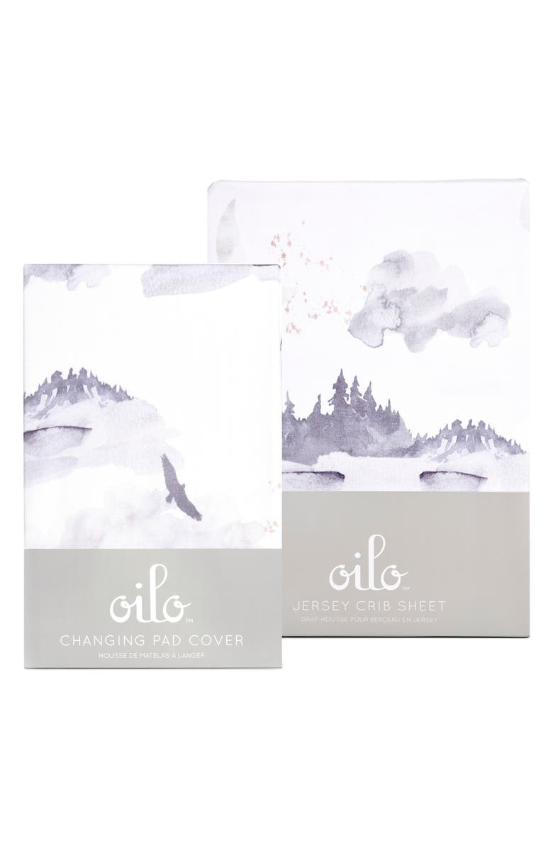 OILO Misty Mountain Changing Pad Cover & Fitted Crib Sheet Set, Main, color, MISTY MOUNTAIN