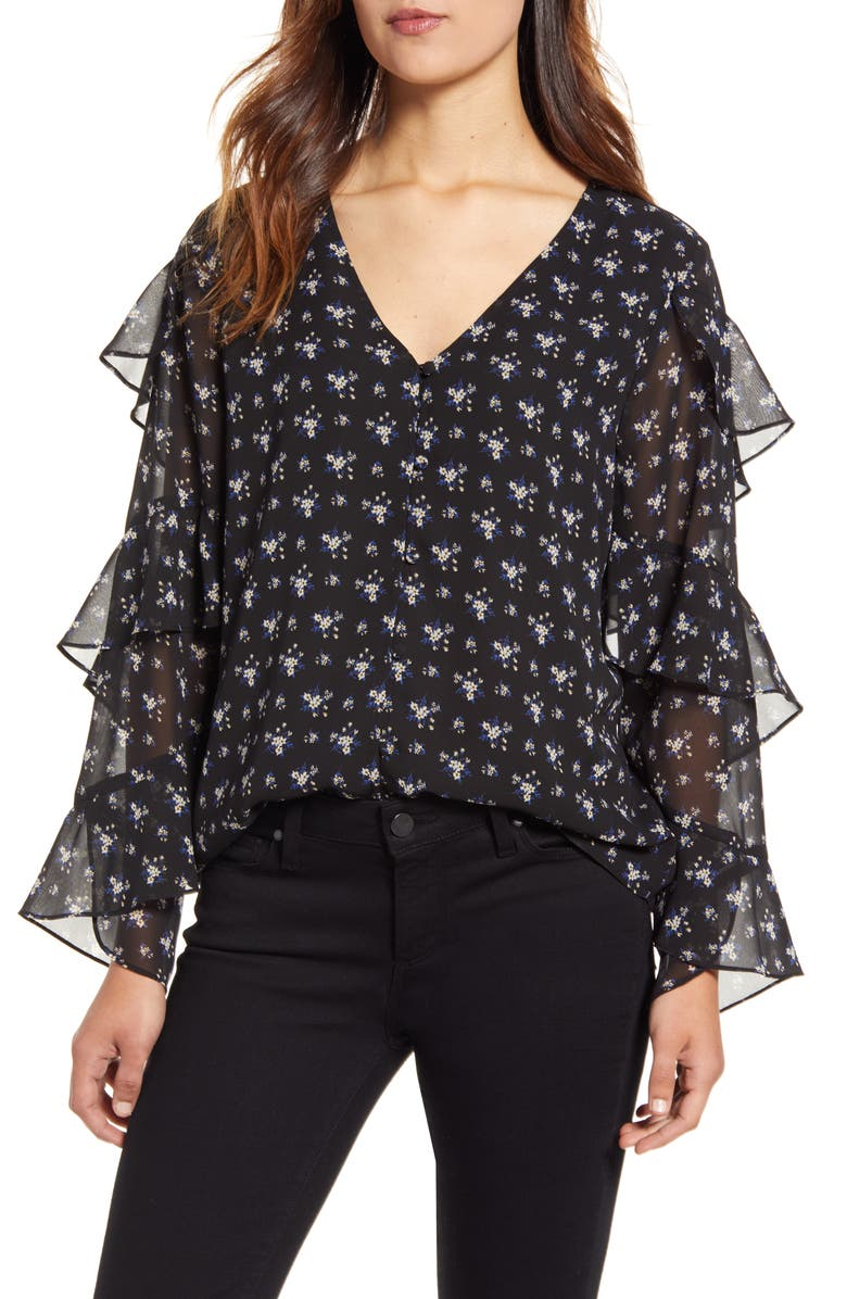 VINCE CAMUTO Ditsy Bouquet Tiered Sleeve Blouse, Main, color, 006