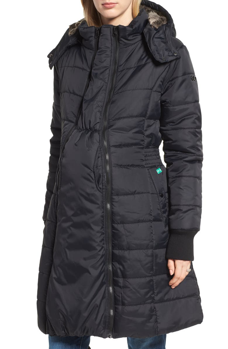 MODERN ETERNITY Madison Quilted 3-in-1 Maternity Puffer Coat with Faux Fur Trim, Main, color, BLACK