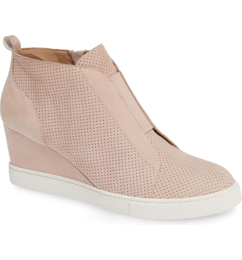 LINEA PAOLO 'Felicia' Wedge Sneaker, Main, color, BLUSH PERFORATED SUEDE