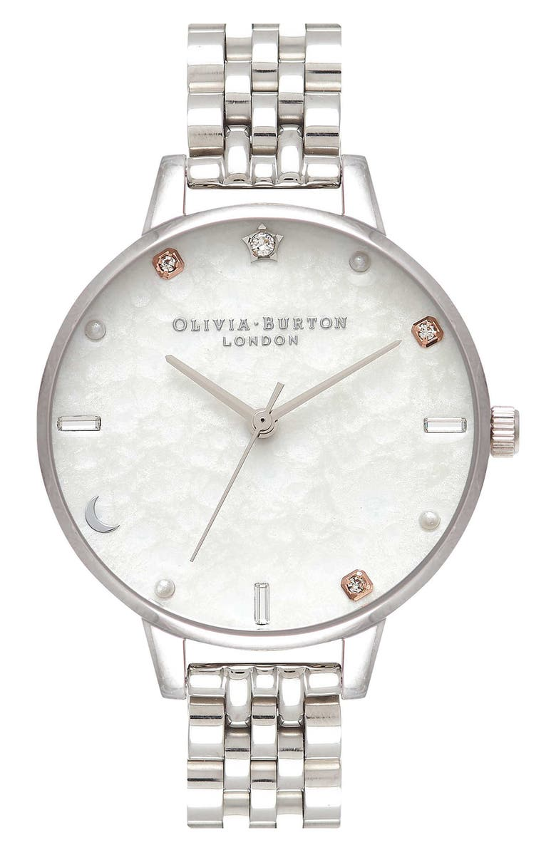 OLIVIA BURTON Celestial Bracelet Watch, 34mm, Main, color, SILVER/ WHITE