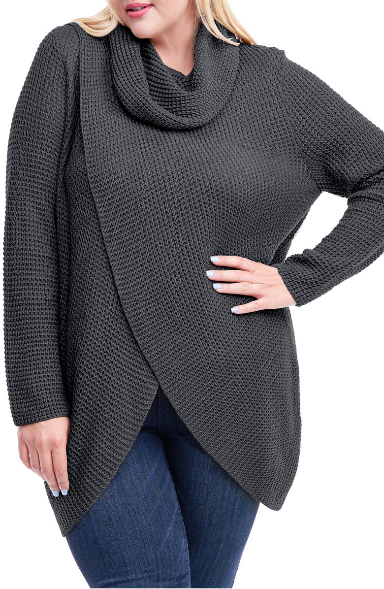 SINGLE THREAD Cowl Neck Sweater, Main, color, CHARCOAL