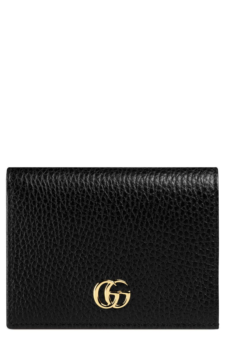 GUCCI Petite Leather Card Case, Main, color, NERO/ NERO