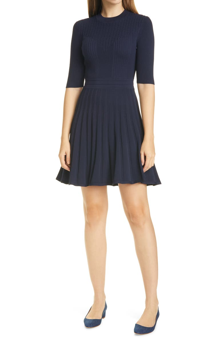 TED BAKER LONDON Olivinn Mix Stitch Fit & Flare Sweater Dress, Main, color, NAVY
