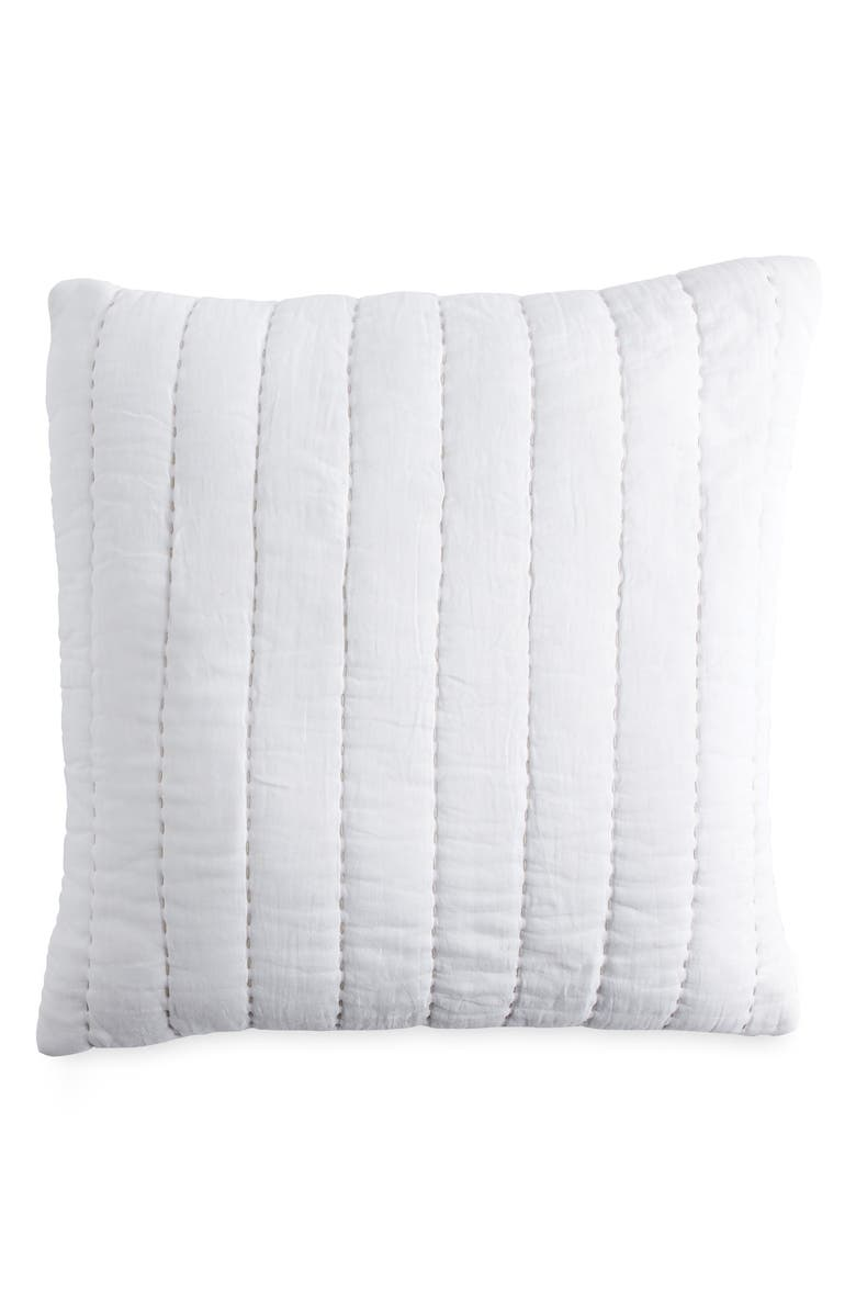 DKNY Quilted Accent Pillow, Main, color, WHITE