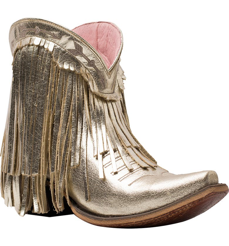 LANE BOOTS x Junk Gypsy Spitfire Fringe Bootie, Main, color, CHAMPAGNE METALLIC LEATHER