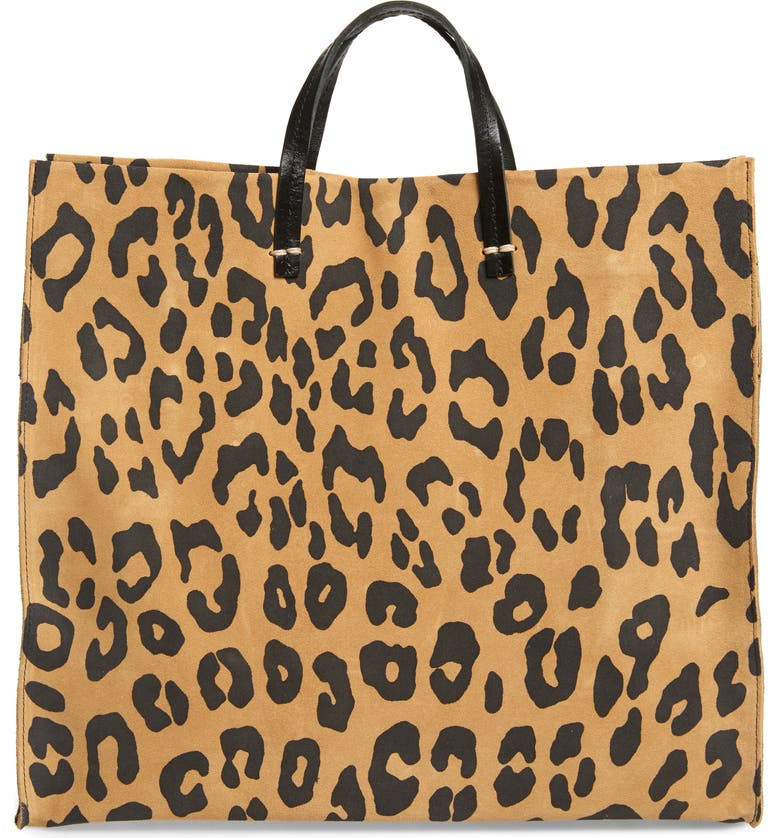 CLARE V. Simple Leopard Print Suede Tote, Main, color, 232