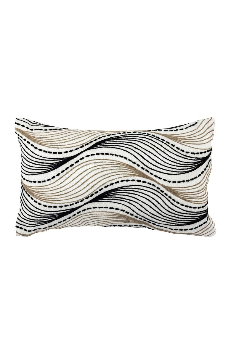 """DIVINE HOME Embroidered Waves Outdoor Pillow - 12"""" x 20"""" - Black/Taupe, Main, color, BLACK / TAUPE"""