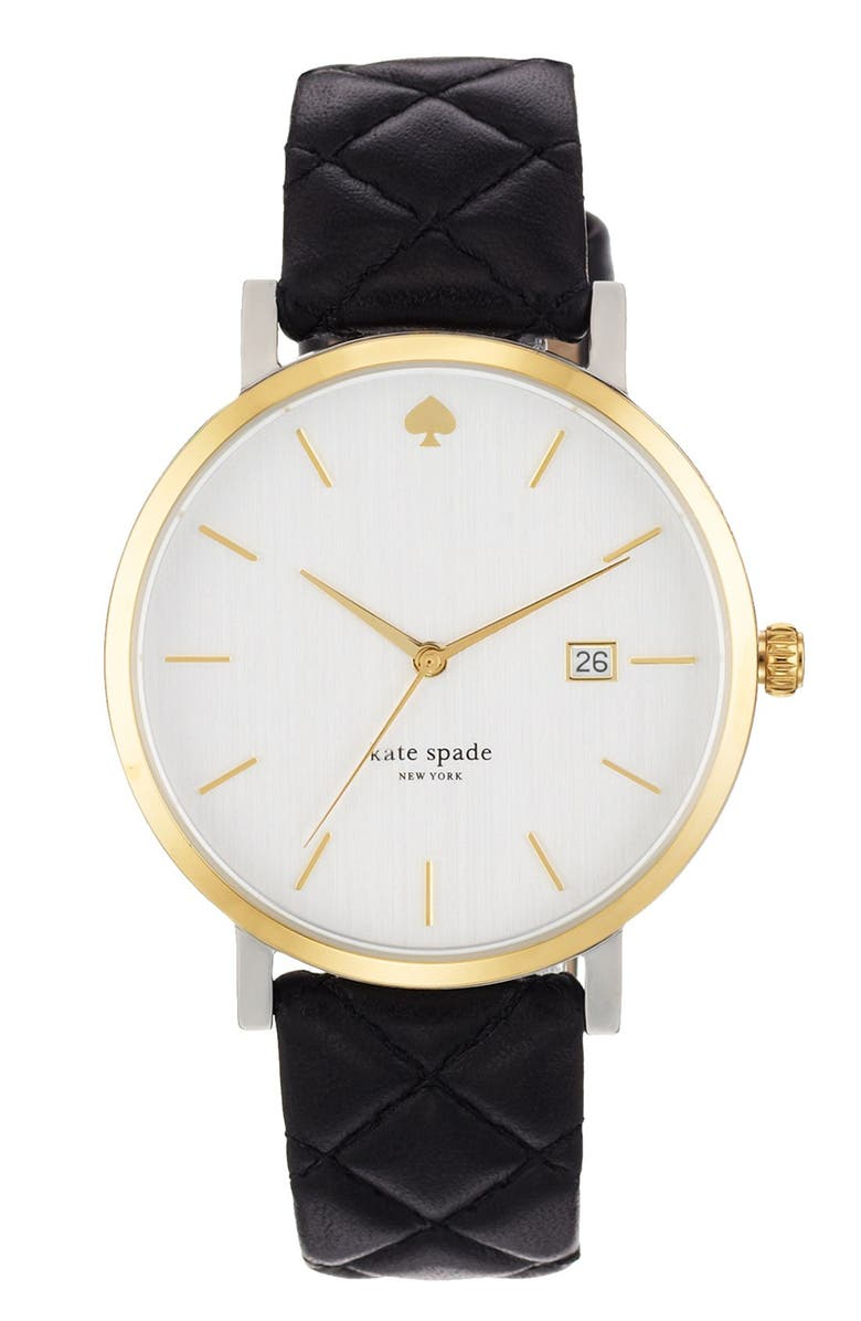 KATE SPADE NEW YORK 'metro grand' quilted strap watch, 38mm, Main, color, 001