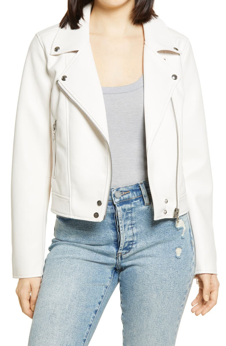 BLANKNYC Good Vibes Faux Leather Moto Jacket, Main, color, PURE MOTIVATION