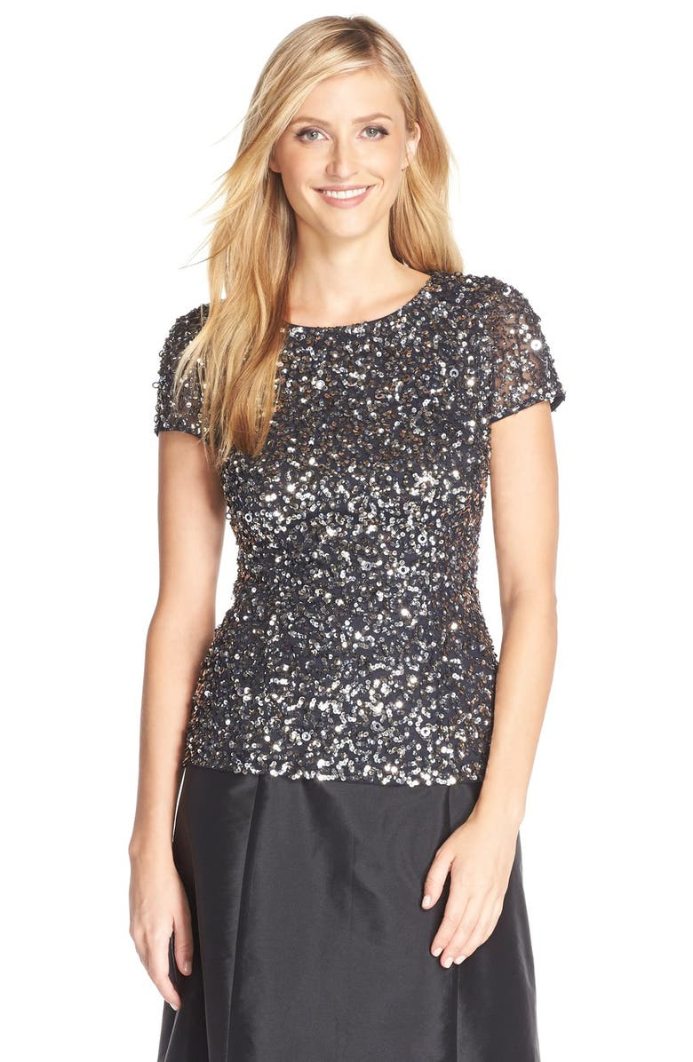 ADRIANNA PAPELL Sequin Mesh Top, Main, color, CHARCOAL