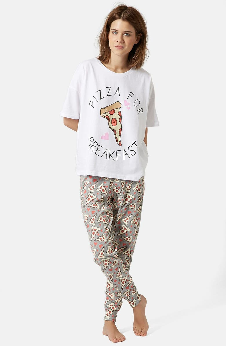 TOPSHOP 'Pizza for Breakfast' Pajama Set, Main, color, 100