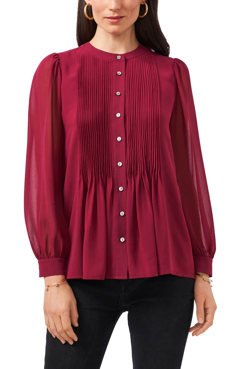 1.STATE Pintuck Yoke Button-Up Blouse, Main, color, RUBY PLUME