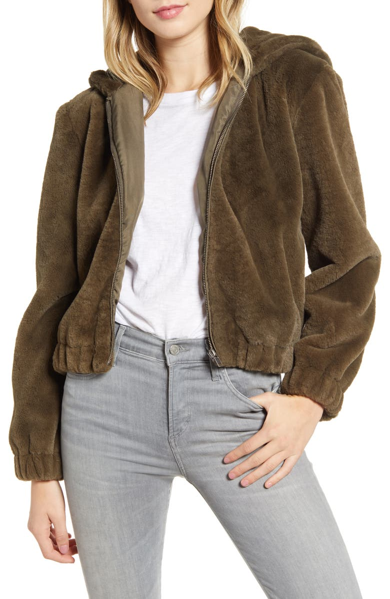CUPCAKES AND CASHMERE Breda Faux Fur Hooded Jacket, Main, color, 300