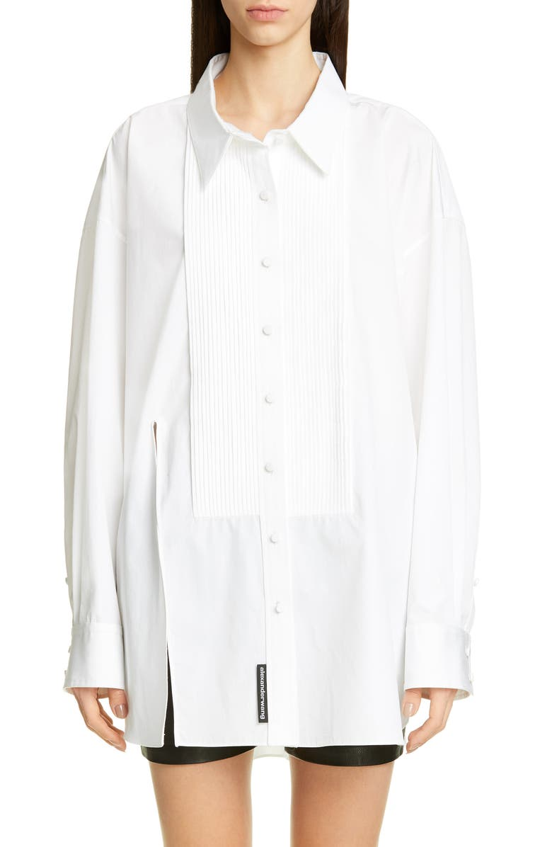 ALEXANDER WANG Oversize Tuxedo Shirt, Main, color, 100