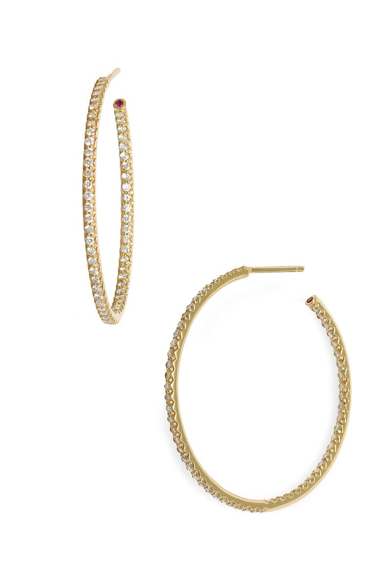 ROBERTO COIN Inside Out Diamond Hoop Earrings, Main, color, 710