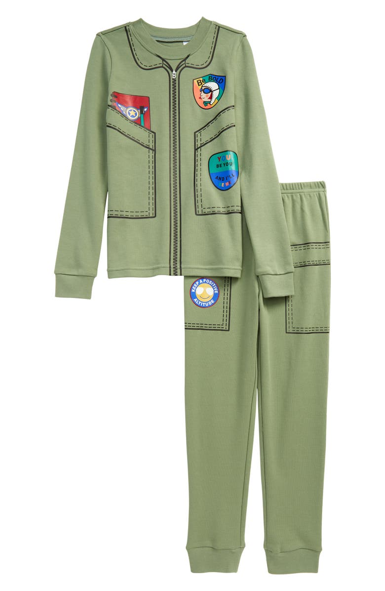 TUCKER + TATE x Smithsonian Kids' Glow in the Dark Two-Piece Fitted Pajamas, Main, color, GREEN HEDGE FLIGHT SUIT