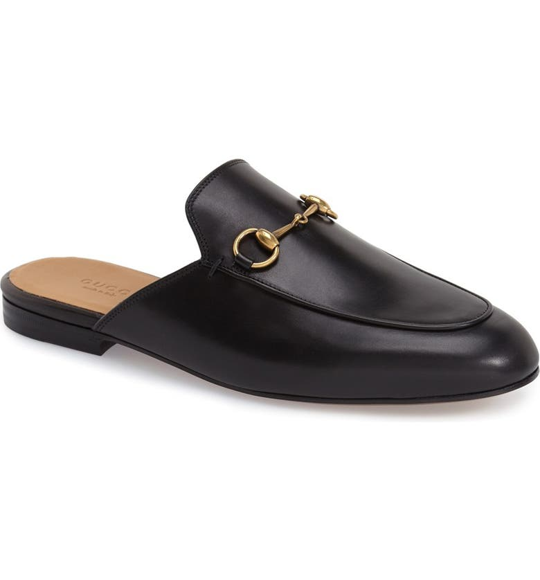 GUCCI Princetown Loafer Mule, Main, color, BLACK LEATHER