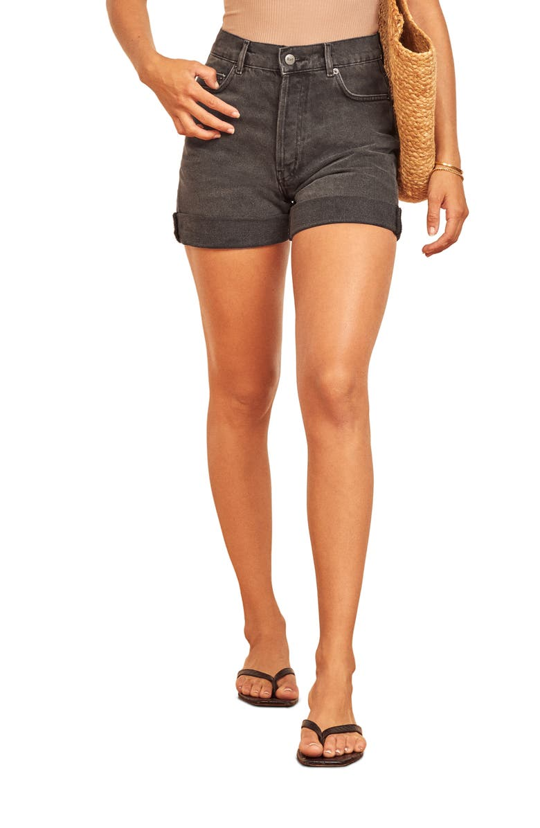 REFORMATION Max Relaxed Denim Shorts, Main, color, 001