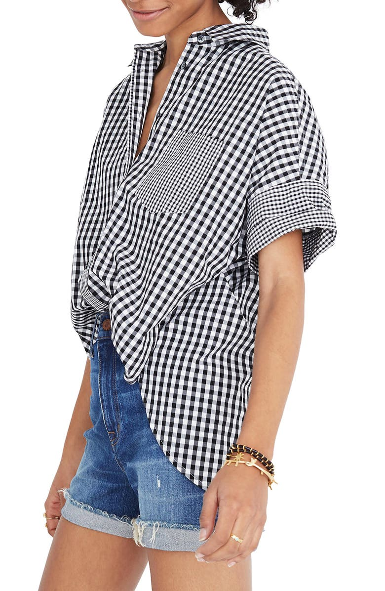 MADEWELL Gingham Play Button Down Shirt, Main, color, 001