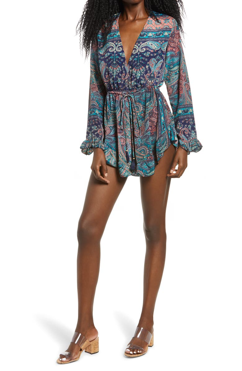 RAGA Mystic Garden Long Sleeve Romper, Main, color, TURQUOISE
