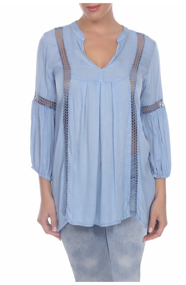 BOHO ME Crochet Lace Inset Cover-Up Tunic, Main, color, CHAMBRAY
